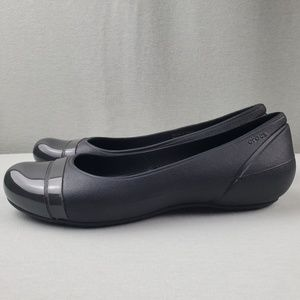 CROCS Cap Toe Ballet Slip On Flats Dark Gray 8